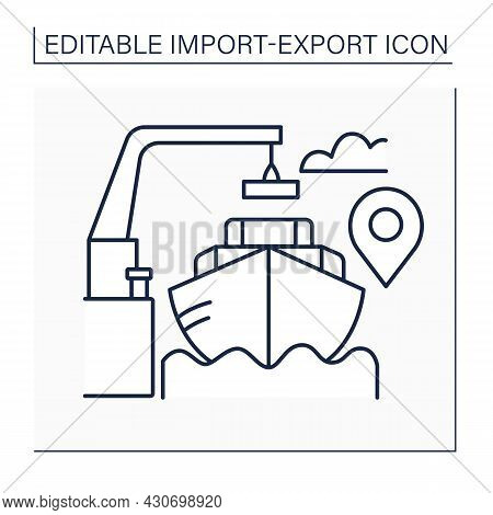Free On Board Line Icon. Transportation Term. Price For Goods Includes Delivery At Seller Expense To