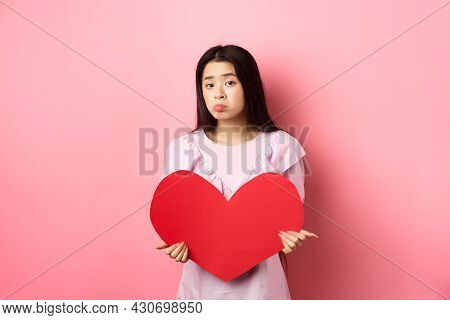 Valentines Concept. Single Teenage Asian Girl Wants To Fall In Love, Looking Sad And Lonely At Camer