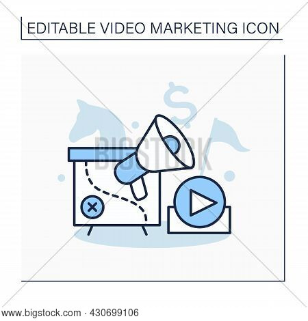 Strategy Line Icon. Create, Curate, And Utilize Videos. Share Products Or Services To Target Audienc