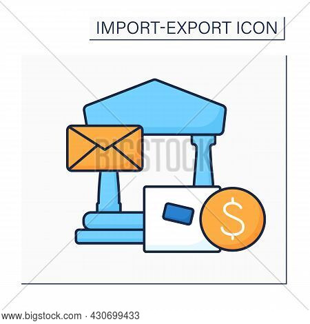Letter Of Credit Color Icon. Bankers Commercial Credit. Payment Mechanism. Economic Guarantee From A