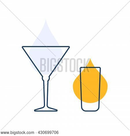 Two Glasses With Rum And Vermouth. Shot Glass Drinks. Template Alcohol Beverage For Restaurant, Bar.