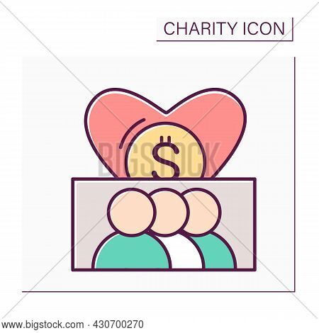Charitable Communities Color Icon. Patrons And Volunteers. Charity Donation Organizations. Collectio
