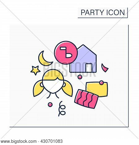 Slumber Party Color Icon. Girl Teenagers Party. Overnight Celebration With Girlfriends.playing Games