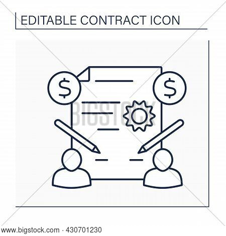Acceptance Line Icon.act Of Agreeing To An Offer, Plan Or Invitation. Agreement. Contract Concept. I