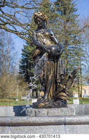 Pushkin, Russia - May 09, 2021: Fountain