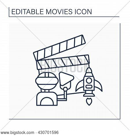 Sci-fi Movie Line Icon. Film Genre With Half-science Plot. Include Alien Worlds, Time Travel With Ro