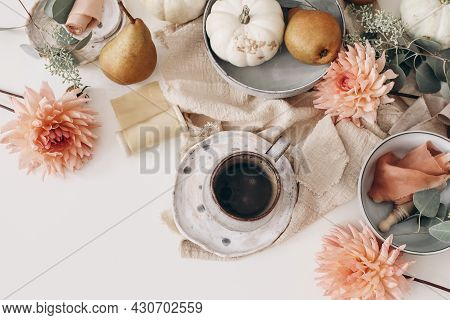Autumn Still Life Composition. Cup Of Coffee, Pear Fruit And White Pumpkins. Pink Dahlia Flowers, Eu