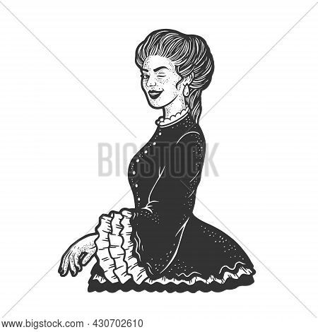 Lady Woman Winking Old Fashioned Flirting Sketch Engraving Vector Illustration. T-shirt Apparel Prin