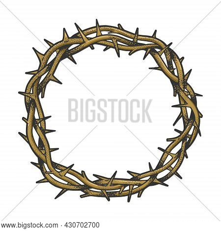 Crown Of Thorns Tattoo Color Sketch Engraving Vector Illustration. T-shirt Apparel Print Design. Scr