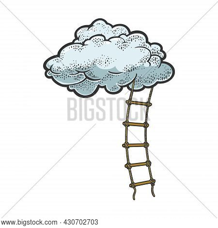 Rope Ladder To Cloud Color Sketch Engraving Vector Illustration. Stairs To Heaven Metaphor. T-shirt