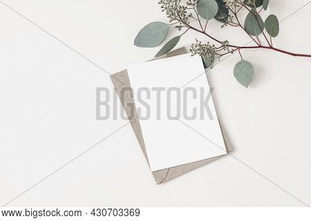 Feminine Wedding, Birthday Stationery Composition. Blank Greeting Card, Invitation Mockup With Craft
