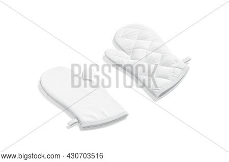 Blank White Oven Mitt Mockup Front And Back, Side View, 3d Rendering. Empty Kitchenware Mitten For H