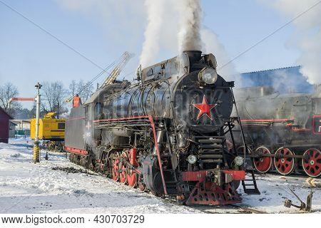 Sortavala, Russia - March 10, 2021: Old Soviet Cargo Steam Locomotive Of The
