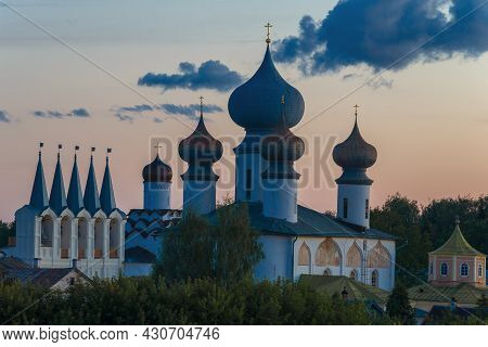 View Of The Belfry And Domes Of The Assumption Cathedral Of The Tikhvin Holy Assumption Monastery In