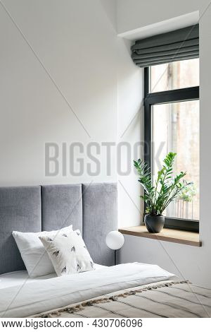 Nobody At Bedroom Interior, Modern Home Design. Bed Near Window, Comfortable House Furniture For Apa