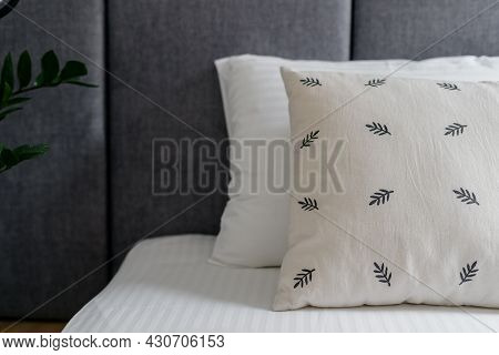 Bedroom Interior With Nobody, Closeup At Comfortable Bed. Room Design With Bedding Pillow, Indoors L