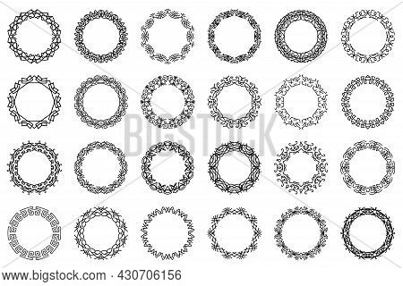 Set Of Vector Ornate Circle Frames. Collection Of Black Vintage Rounded Borders Isolated On White Ba