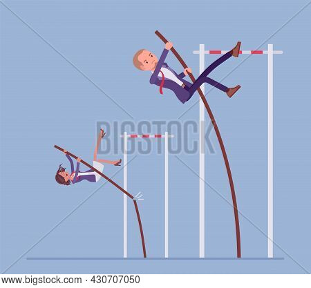 Business Competitors Attempt To Vault Over High Bar With Pole. Office Managers, Strong Record Breake
