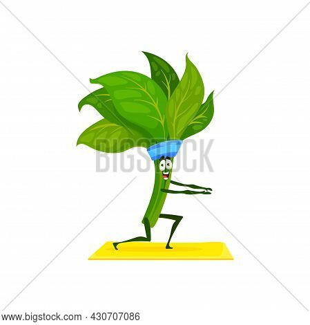 Green Spinach Leaves Bunch Doing Sport Exercise On Fitness Pilates Yoga Mat Isolated. Vector Ripe Gr