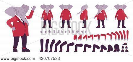 Elephant Man, Elegant Mister, Animal Head Human Construction Set. Dressed Up Gentleman Having Large