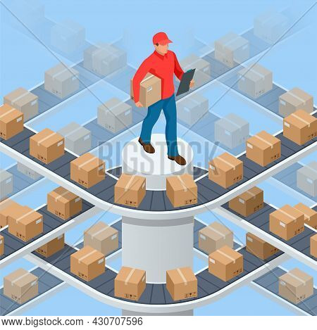 Isometric Packed Courier On Production Line Against Cardboard Boxes In Warehouse. Transport And Proc