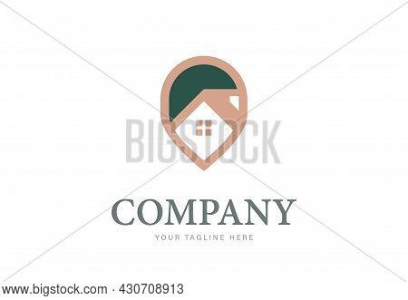 Elegant House Pin Logo Design Template. Creative Gps Point Location Symbol.