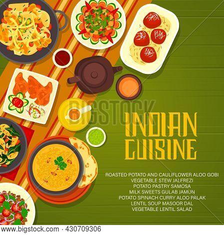 Indian Restaurant Menu Cover With Vector Food Of Vegetables And Lentil, Milk Dessert And Masala Tea.