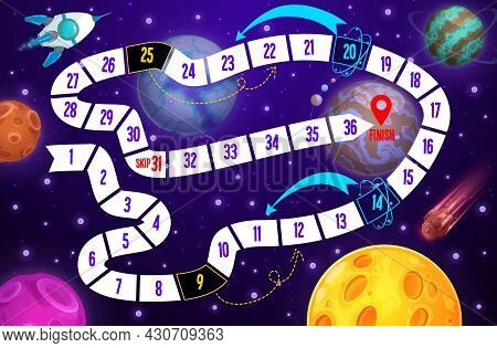 Galaxy Kids Boardgame, Spaceship And Planets. Vector Space Step Board Game, Discovery Children Riddl