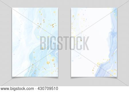 Abstract Turquoise And Teal Blue Liquid Marbled Watercolor Background With Wave Pattern And Golden S