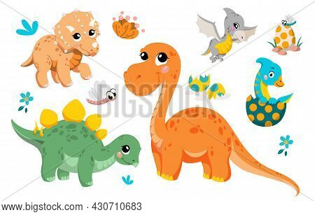 Set Of Cute Dinosaurs. Pictures For Printing On Tshirts. Posters And Stickers For Children. Old Life