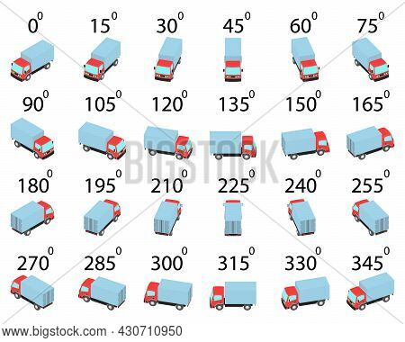 A Set Of 24 Trucks From Different Angles. Rotation Of The Lorry By 15 Degrees For Animation And Vide