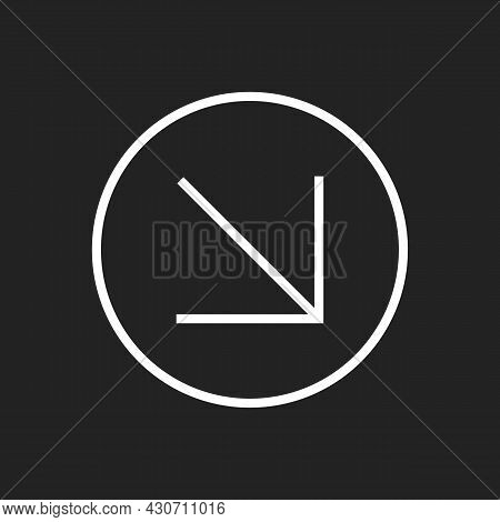Simple Diagonal Downward Right Arrow. Isolated Swipe Icon For Social Media. Vector Illustration