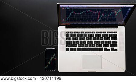 Stock Broker. Investment Business Technology App On Digital Screen. Finance Application For Sell, Bu