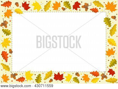 Autumn Rectangle Frame Made From Hand-drawn Foliage. Yellow And Orange Leaves Of Maple And Oak, Oak