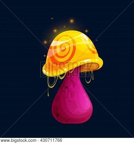 Fantasy Magic Toxic Cartoon Mushroom, Poisonous Amanita Or Luminous Toadstool, Vector Icon. Fairy Ta