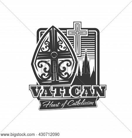 Vatican Icon, Pope Tiara, Catholic Crucifix And Ancient Building Peaks Silhouette. Christianity Reli