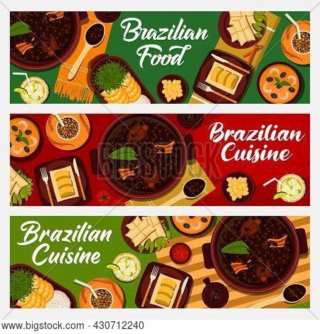 Brazilian Food Vector Orange Rice, Sweet Corn Mush Pamonha, Potato Dumplings Coxinha And Chimarrao M