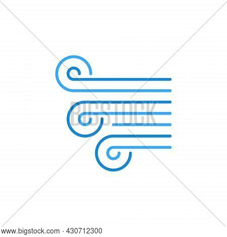 Breeze Or Wind Vector Concept Blue Line Icon Or Sign