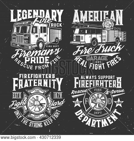 Firefighters Dept Badge And Fire Truck T-shirt Vector Print. Fire Rescue Team, Emergency Service Clo