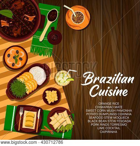 Brazilian Cuisine Vector Sweet Corn Mush Pamonha, Potato Dumplings Coxinha And Chimarrao Mate Or Bla