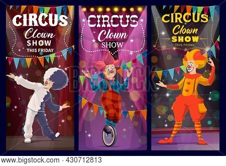 Shapito Circus Clowns And Harlequin Characters, Funfair Carnival Performers, Vector. Shapito Circus