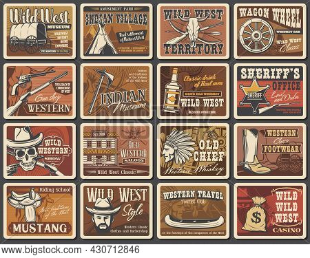 Wild West Vector Posters Set. Cowboy, Sheriff And Skull, American Western Hat, Guns And Ranger Star