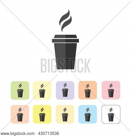 Silhouette Of Coffee And Tea Cup Isolated On White.
