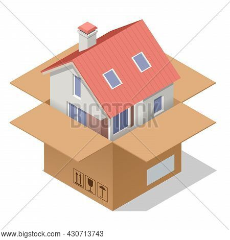 Isometric House Wrapped Up In Brown Paper And Rope Isolated On White Background. Moving With Boxes T