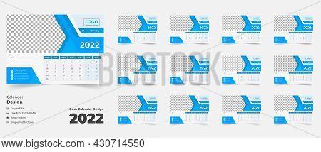2022 Desk Calendar With Blue Layout,blue Desk Calendar 2022,new Desk Calendar 2021 Template 12 Month