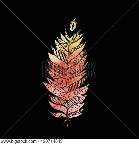 Feathers, Abstract Orange And Beige Colors With Patterns, Airy, Floating Fantastic