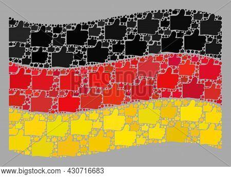 Mosaic Waving Germany Flag Designed With Thumb Up Elements. Vector Confirmation Mosaic Waving German