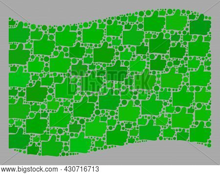 Mosaic Waving Green Flag Created With Like Items. Vector Choice Mosaic Waving Green Flag Created For