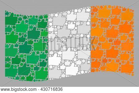 Mosaic Waving Ireland Flag Designed With Thumb Up Elements. Vector Election Collage Waving Ireland F