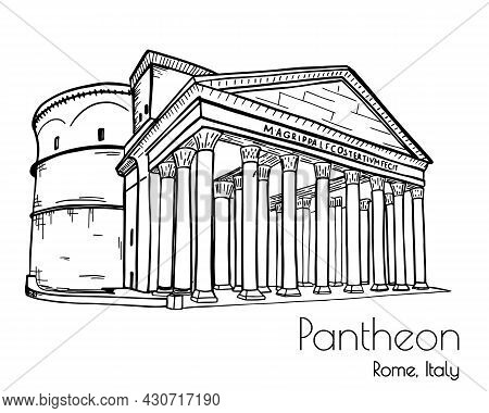Italian Landmark Pantheon Sketch. Vector Isolated On White Background.